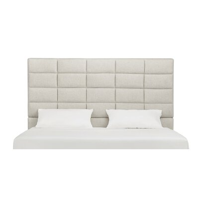 Rose Upholstered Wood Frame Panel Headboard Size: King, Upholstery: Beige Linen