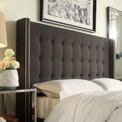 Blanton Upholstered Wingback Headboard Size Full Upholstery Dark Gray