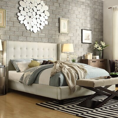 Tramel Linen Upholstered Platform Bed Color: White, Size: Full
