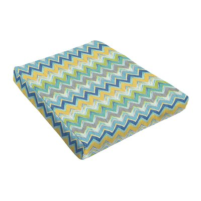 Chevron Outdoor Dining Chair Cushion Fabric: Blue / Green