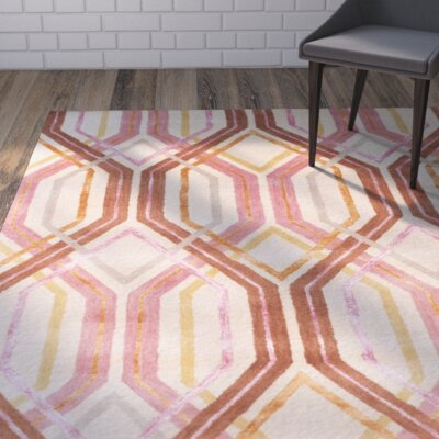 Clariandra Carnation/Rust Area Rug Rug Size: Runner 26 x 8