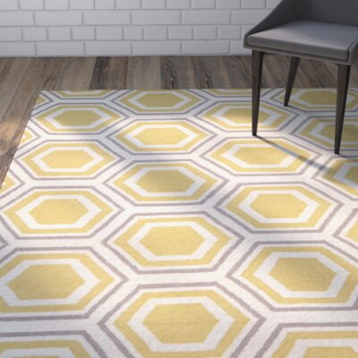 Cassiopeia Ivory / Yellow Area Rug Rug Size: Square 6