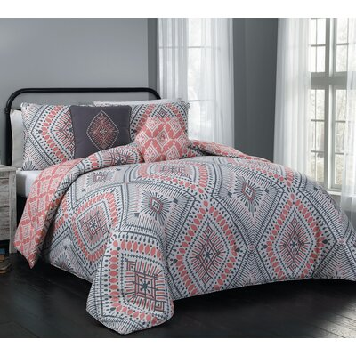 Blodgett 5 Piece Comforter Set Size: King, Color: Coral