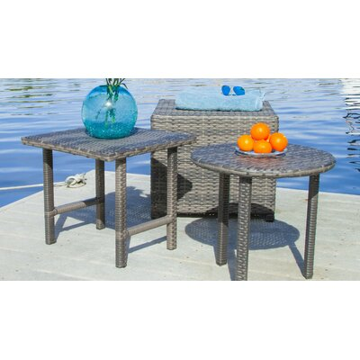 Agamemnon 3 Piece Wicker Side Table Set Finish: Grey