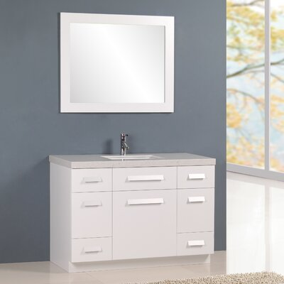 Arnette 48 Single Bathroom Vanity Set with Mirror Base Finish: White