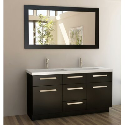 Arnette 60 Double Bathroom Vanity Set with Mirror Base Finish: Espresso