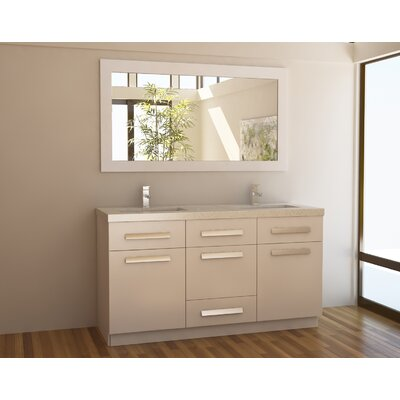 Arnette 60 Double Bathroom Vanity Set with Mirror Base Finish: White