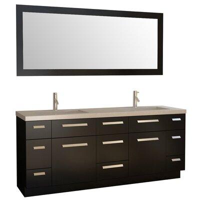 Arnette 72 Double Bathroom Vanity Set with Mirror Base Finish: Espresso