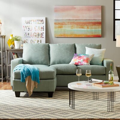 Morpheus Reversible Sectional Upholstery: Blast Seafoam/Quadrille Sage