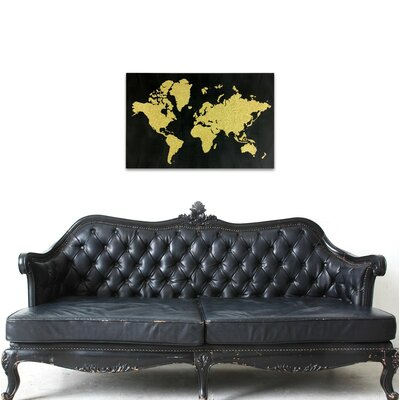 'World in Glitter' Gold Glitter Art on Canvas