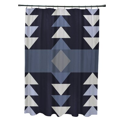 Collete Sagebrush Geometric Print Shower Curtain Color: Navy Blue
