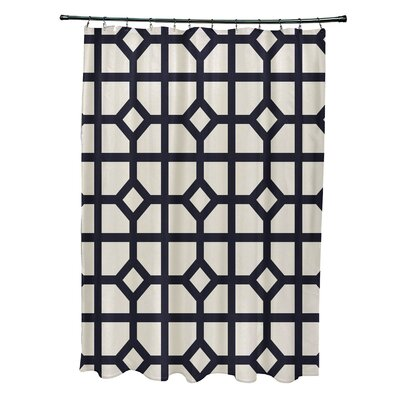 Ketchum Dont Fret Geometric Print Shower Curtain Color: Navy Blue