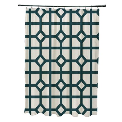 Ketchum Dont Fret Geometric Print Shower Curtain Color: Teal
