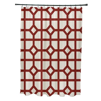 Ketchum Dont Fret Geometric Print Shower Curtain Color: Orange