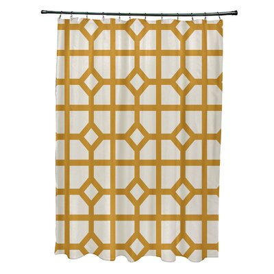 Ketchum Dont Fret Geometric Print Shower Curtain Color: Yellow