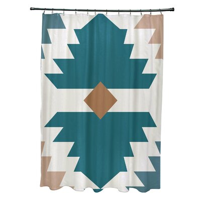 Mathews Mesa Geometric Print Shower Curtain Color: Aqua