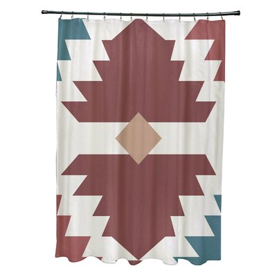 Mathews Mesa Geometric Print Shower Curtain Color: Orange
