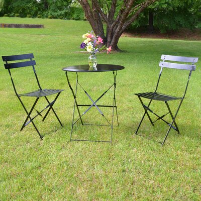 Bleich 3 Piece Bistro Set Finish: Black