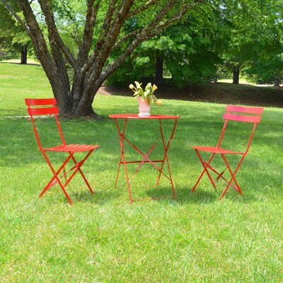 Bleich 3 Piece Bistro Set Finish: Red