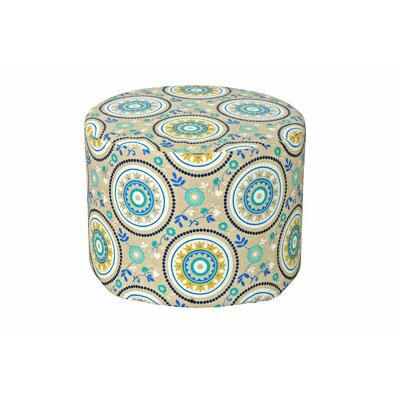 Lorelai Ottoman Fabric: Teal Circles
