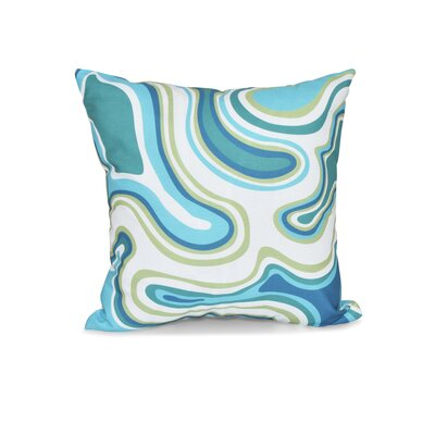 Buenrostro Agate Geometric Outdoor Throw Pillow Size: 18 H x 18 W, Color: Teal