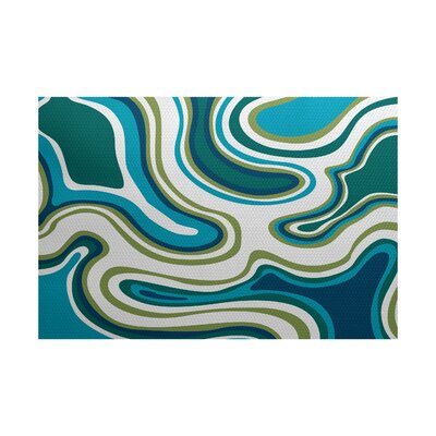 Block Teal Indoor/Outdoor Area Rug Rug Size: 5 x 7