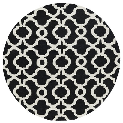 Vanauken Hand-Tufted Black / Ivory Area Rug Rug Size: Round 79
