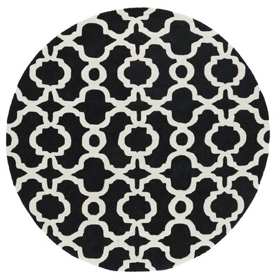 Vanauken Hand-Tufted Black / Ivory Area Rug Rug Size: Round 119