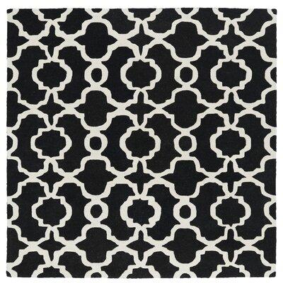 Vanauken Hand-Tufted Black / Ivory Area Rug Rug Size: Square 119