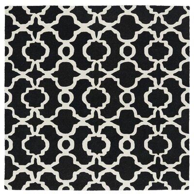 Bodine Hand-Tufted Black / Ivory Area Rug Rug Size: Square 39