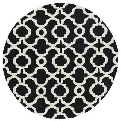 Vanauken Hand-Tufted Black / Ivory Area Rug Rug Size: Round 59