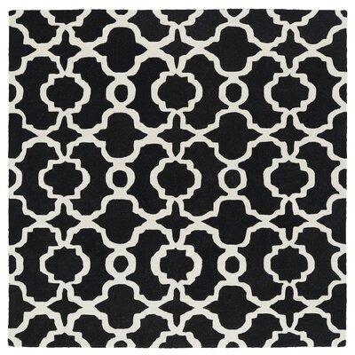 Vanauken Hand-Tufted Black / Ivory Area Rug Rug Size: Square 59