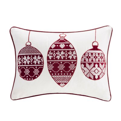 Ornament Cotton Lumbar Pillow Color: Ivory / Red