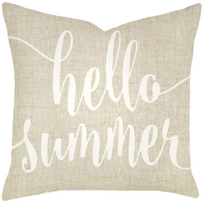 Boltz Hello Summer Typography Cotton Throw Pillow Size: 20 H x 20 W x 8 D, Color: Light Blue