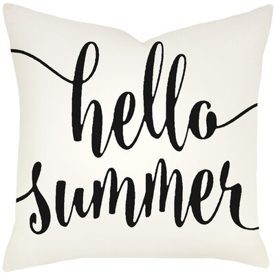 Boltz Hello Summer Typography Cotton Throw Pillow Size: 20