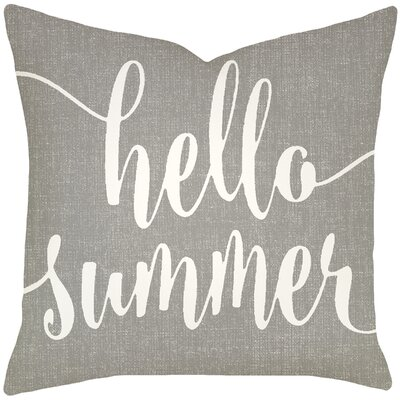 Boltz Hello Summer Typography Cotton Throw Pillow Size: 18 H x 18 W x 6 D, Color: Smoke