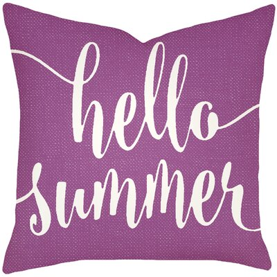 Boltz Hello Summer Typography Cotton Throw Pillow Size: 16 H x 16 W x 6 D, Color: Purple