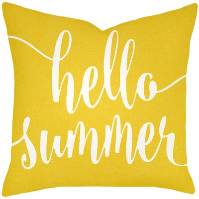 Boltz Hello Summer Typography Cotton Throw Pillow Size: 16 H x 16 W x 6 D, Color: Yellow