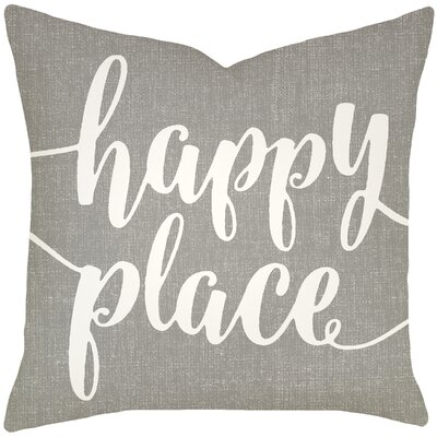 Bolte Happy Place 100% Cotton Throw Pillow Size: 18 H x 18 W x 6 D, Color: Smoke