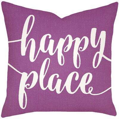 Bolte Happy Place 100% Cotton Throw Pillow Size: 20 H x 20 W x 8 D, Color: Purple