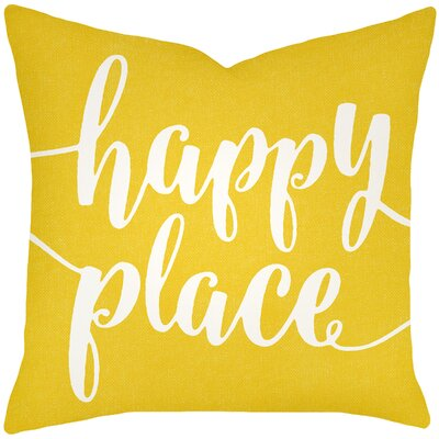 Bolte Happy Place 100% Cotton Throw Pillow Size: 16 H x 16 W x 6 D, Color: Yellow