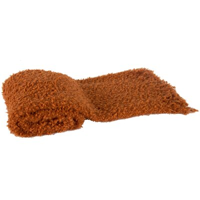 Bollin Fringed Throw Blanket Color: Orange