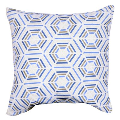 Matheus Embroidered Cotton Throw Pillow Color: Blue