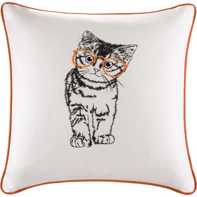Lorrine Cat Embroidered Cotton Throw Pillow