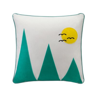 Lory Mountain Appliqued Cotton Throw Pillow