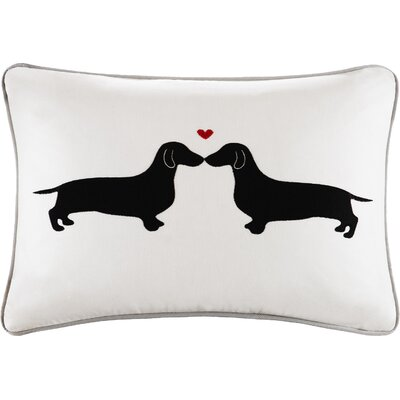 Meyer Kissing Dog Appliqued Cotton Lumbar Pillow