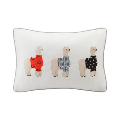 Pedigo Alpaca Embroidered Cotton Lumbar Pillow