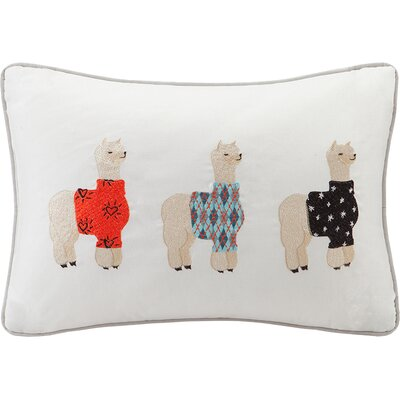 Louie Alpaca Embroidered Cotton Lumbar Pillow