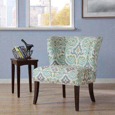 Belmont Wingback Chair Upholstery: Blue / Green