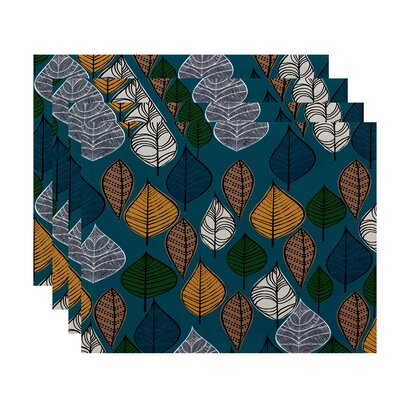 Ketter Autumn Leaves Floral Print Placemat Color: Teal